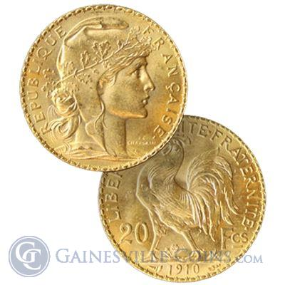 Gold French 20 Franc Rooster - (.1867 oz of Gold)