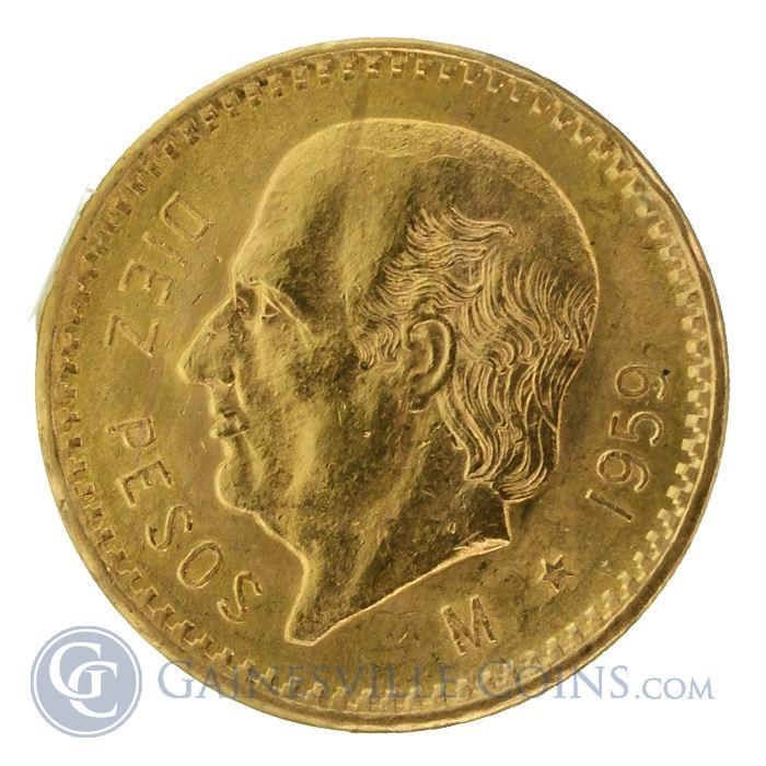 Image Showcase for Gold Mexican 10 Pesos (Random Dates) - (.2411 oz Gold)