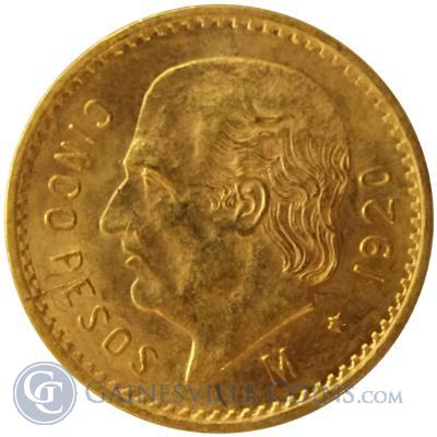 Gold Mexican 5 Pesos - (.1205 oz Gold)