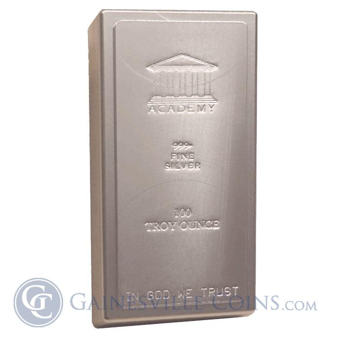 Image Showcase for Academy 100 oz Silver Bar .999 Pure Silver (IRA Certified)