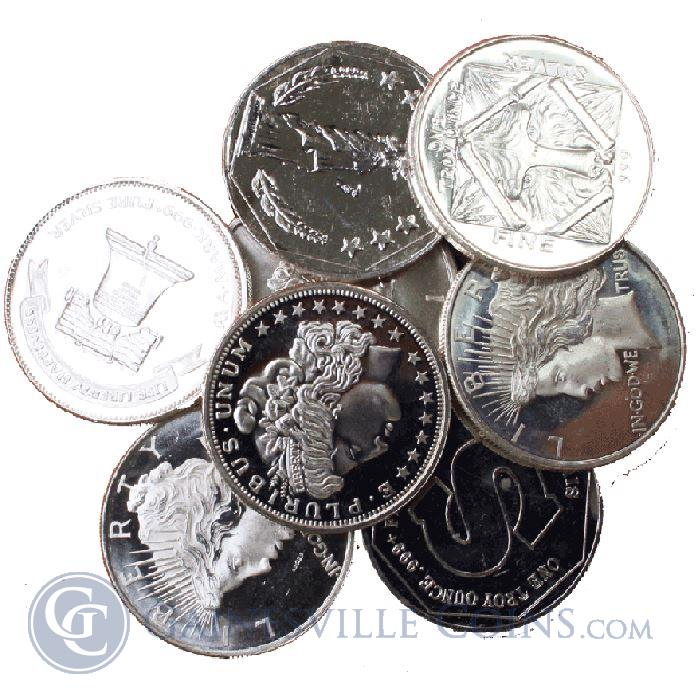 Image Showcase for 1 oz Silver Round - Various Designs (.999 Pure Silver)