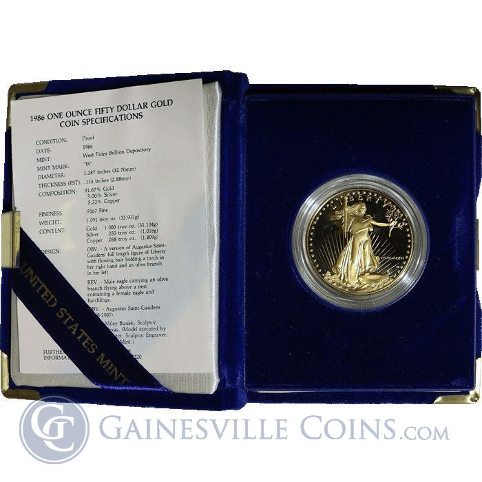 Image Showcase for 1 oz Proof Gold American Eagle (Random Year, w/Box & COA)