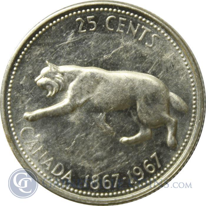 Image Showcase for 1967 Canadian Silver Quarter - Running Bobcat