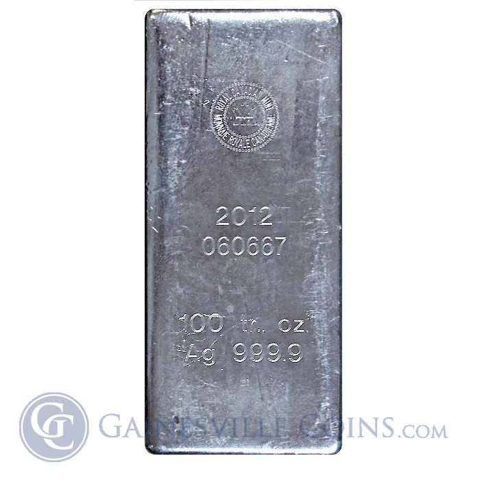 Image Showcase for Royal Canadian Mint 100 ounce Silver Bar .9999 Fine. (stock photo actual bar may differ)