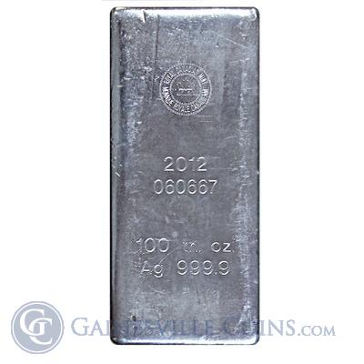 Royal Canadian Mint 100 ounce Silver Bar .9999 Fine. (stock photo actual bar may differ)