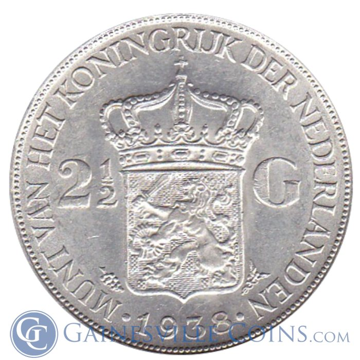 Image Showcase for Netherlands 2 1/2 Gulden Silver - .5787  oz of Silver (Random Dates)
