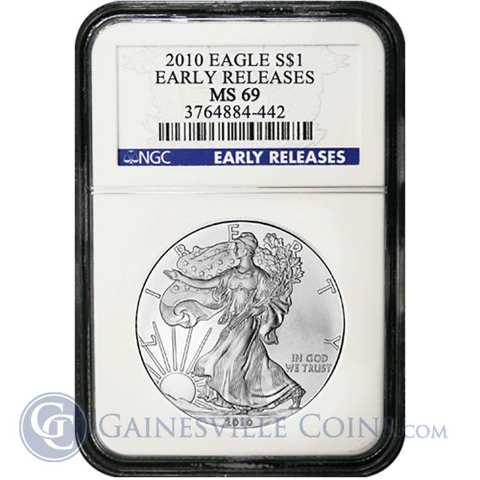 Image Showcase for 2010 1 oz Silver American Eagle Coins MS-69 NGC Early Release