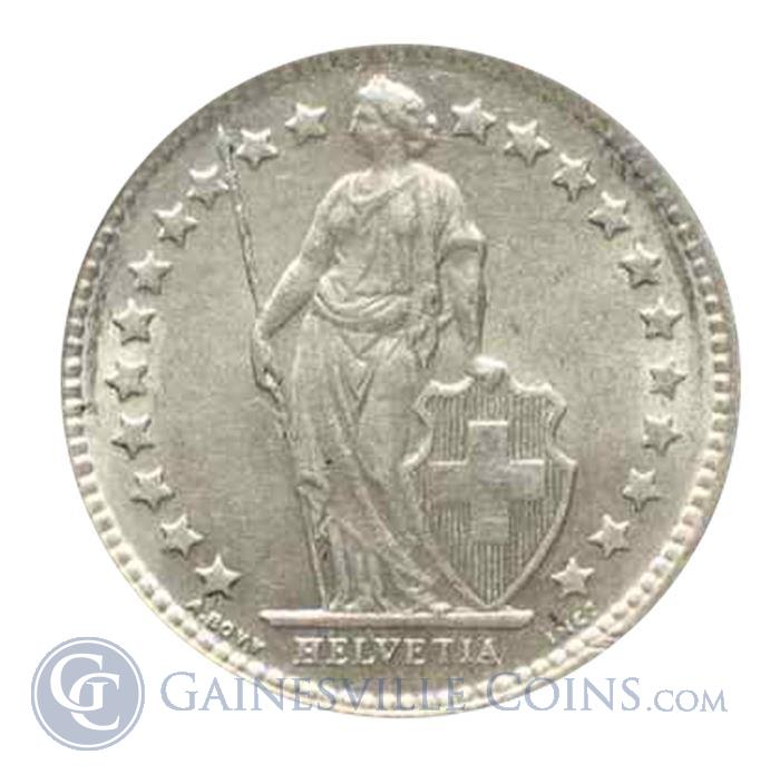 Image Showcase for Switzerland 1/2 Franc Silver Coins .0671 oz of Silver (Random Dates)