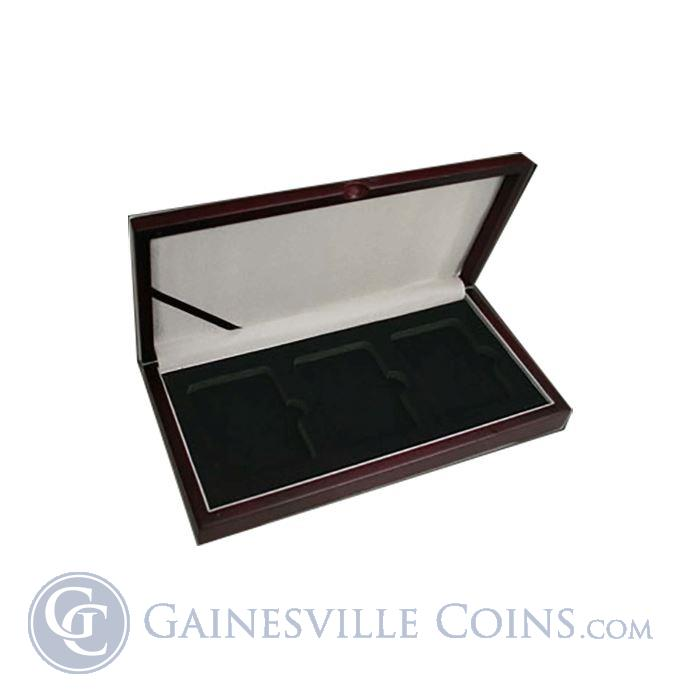 Image Showcase for Universal Wood Display Box for 3 Certified Coins (NGC/PCGS)