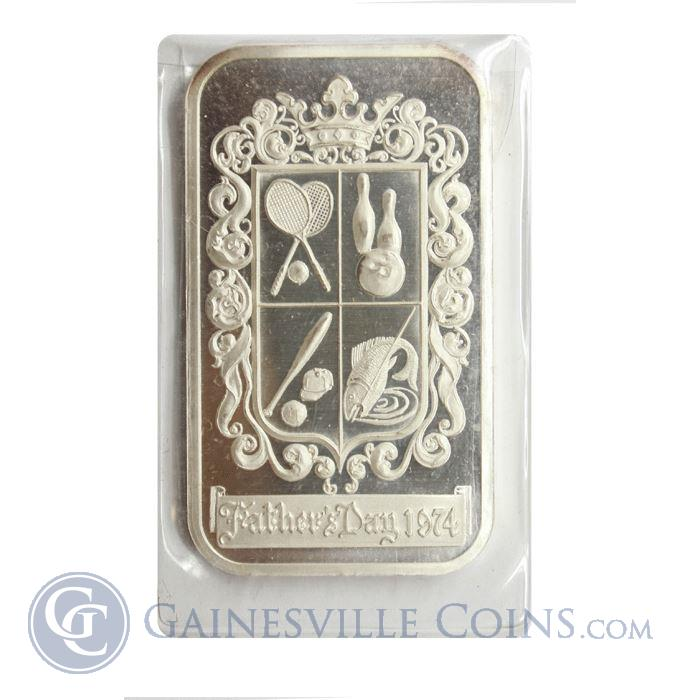 Image Showcase for 1974 Fathers Day 1 oz Silver Art Bar (Madison Mint) .999 Pure