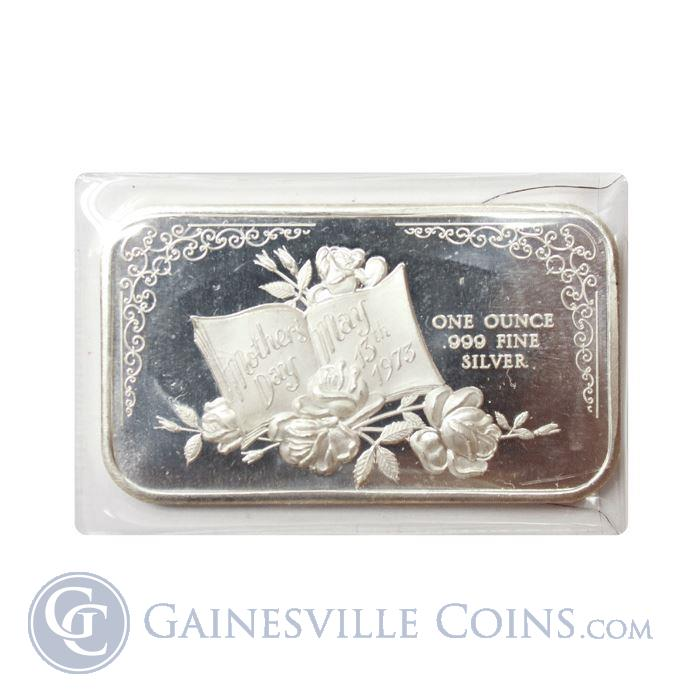 Image Showcase for 1973 Mothers Day 1 oz Silver Art Bar (.999 Fine)