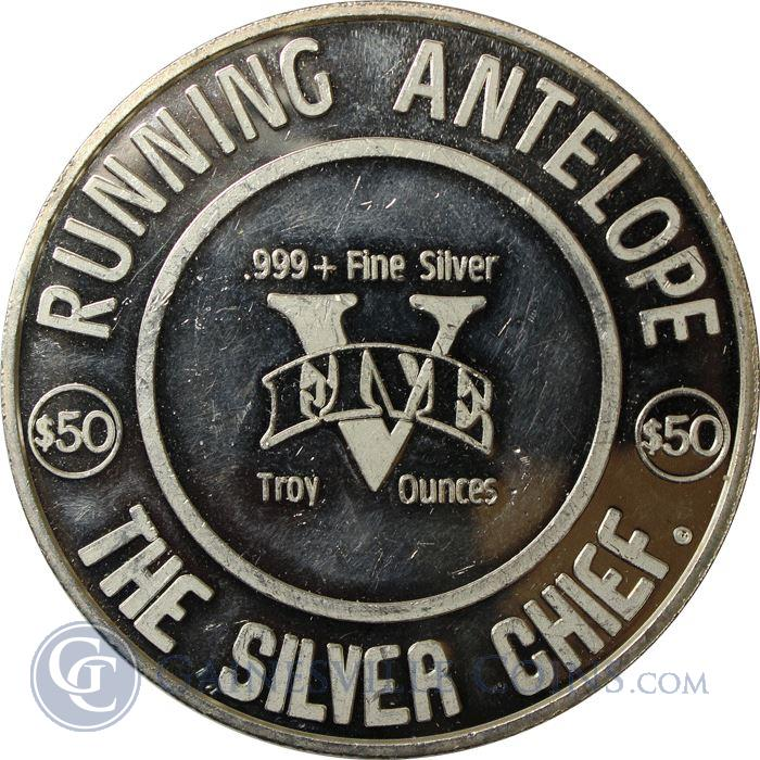 Image Showcase for Running Antelope 5 oz Silver Round - The Silver Chief (.999 Pure)