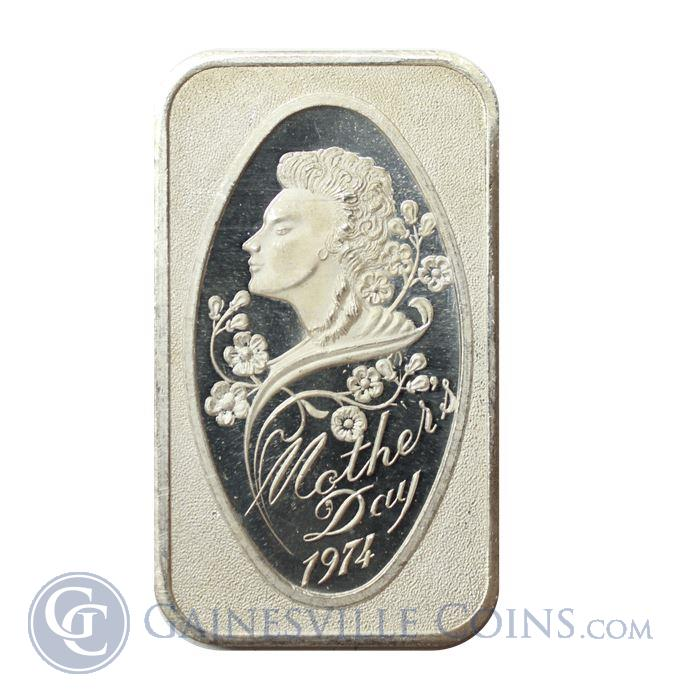 Image Showcase for 1974 Mother's Day 1 oz Silver Art Bar - Madison Mint (.999 Pure)