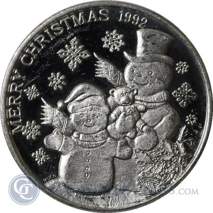 Image Showcase for 1992 Christmas Snowman - 1 oz Silver Art Round (.999 Pure)