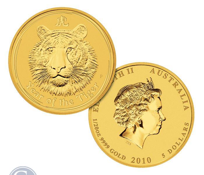 Image Showcase for 2010 Australian Year of the Tiger 1/20 oz 24k Gold .9999 Fine