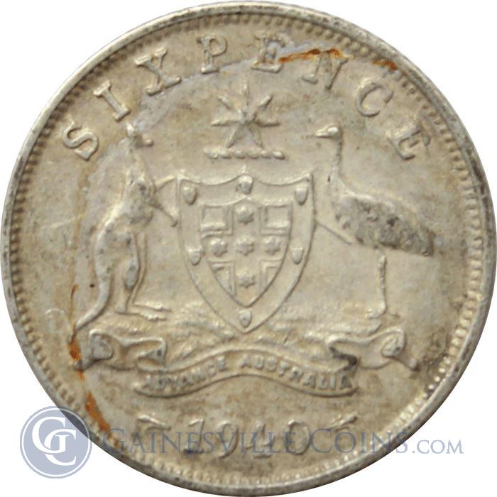 Image Showcase for 1938-1945 Australia Sixpence Silver Coin (.0842 oz of Silver)