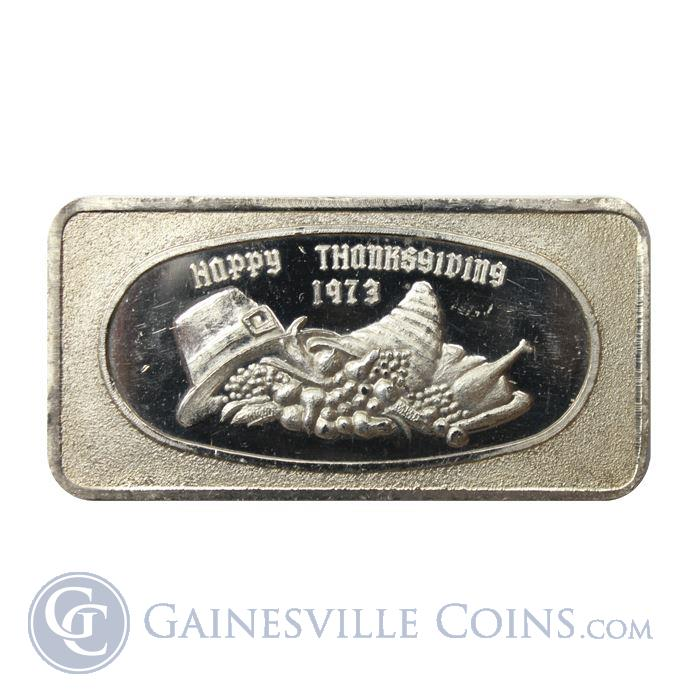 Image Showcase for 1973 Happy Thanksgiving 1 oz Silver Art Bar (Great Lakes Mint) .999 Pure