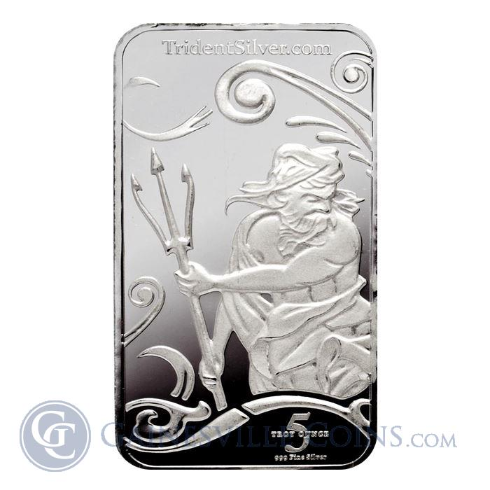 Image Showcase for 5 oz Trident Silver Bar (.999 Fine)