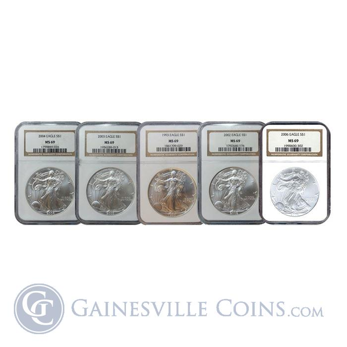 Image Showcase for  1 oz American Silver Eagle NGC MS69 (Random Date)