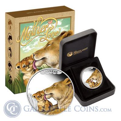 2014 Australia Mothers Love Lioness 1/2 oz Proof Silver Coin - With Box and COA