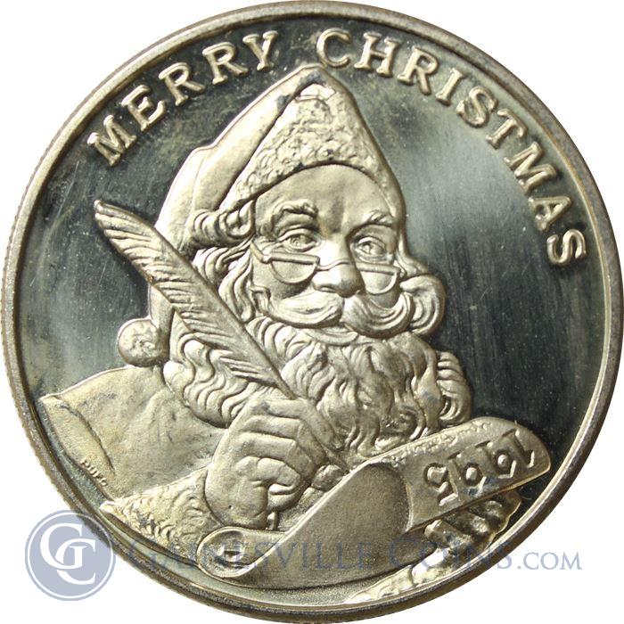 Image Showcase for 1995 Merry Christmas Santa Clause 1 oz Silver Round (.999 Pure)