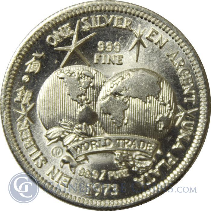 Image Showcase for 1973 Universal World Trade Unit 1 oz Silver Round (.999 Pure)