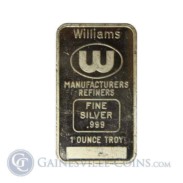 Image Showcase for Williams Manufacturers Refiners 1 oz Silver Bar (.999 Fine)