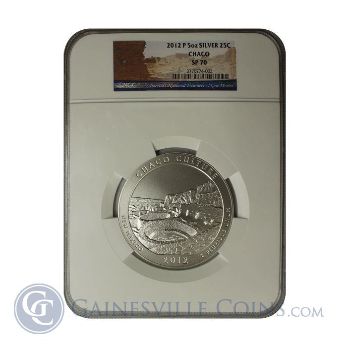 Image Showcase for 2012 5 oz Silver America The Beautiful - Chaco Culture NGC SP70