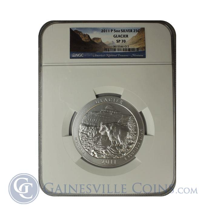 Image Showcase for 2011 5 oz Silver America The Beautiful - Glacier National Park NGC SP70