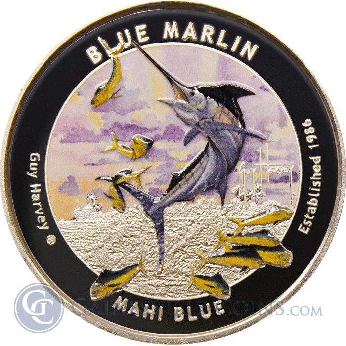 Image Showcase for 2015 Guy Harvey© Colorized 1 oz Proof Silver Round - Blue Marlin (Mintage of Only 1500!) .999 Pure