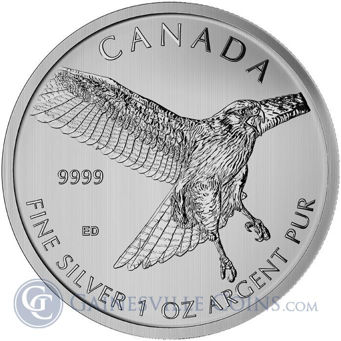 Image Showcase for 2015 1 oz Canadian Silver Red Tailed Hawk - Birds Of Prey Series