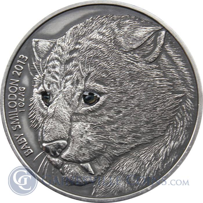 Image Showcase for 2013 Baby Smilodon Sabre Toothed Tiger 1 oz Silver Coin - 1000 Francs