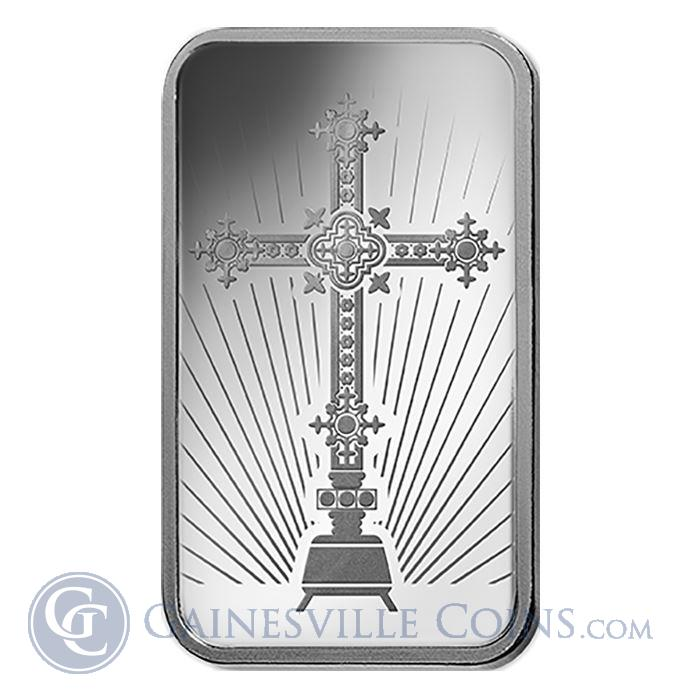 Image Showcase for Romanesque Cross 1 oz Silver Bar Pamp Suisse - Faith Series