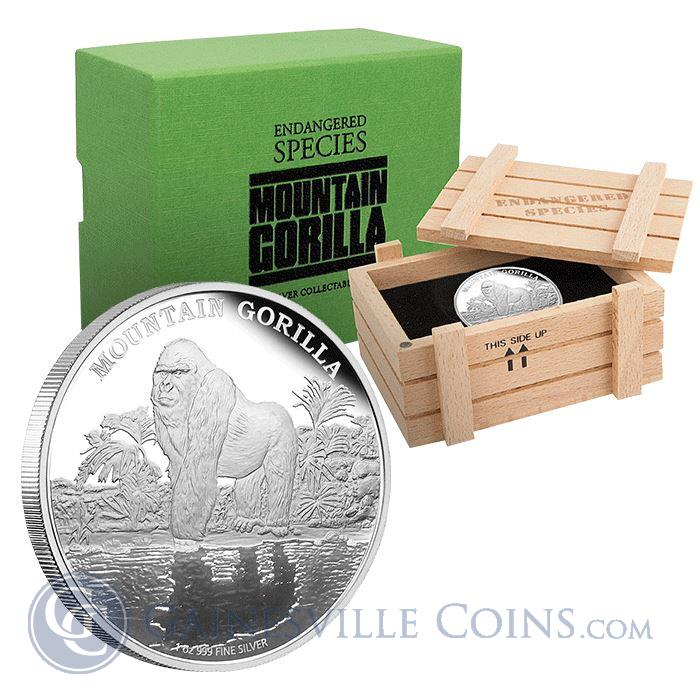 Image Showcase for 2015 Mountain Gorilla Endangered Species 1 oz Proof Silver $2 Niue (Mintage of ONLY 2,000!)
