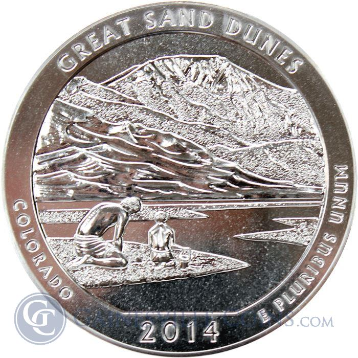 Image Showcase for 2014 5 oz Silver America The Beautiful - Great Sand Dunes (.999 Fine)