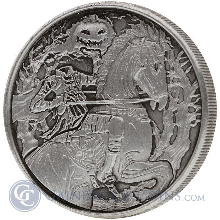 Image Showcase for Headless Horseman 2 oz Ultra High Relief Silver Round - With Antique Finish