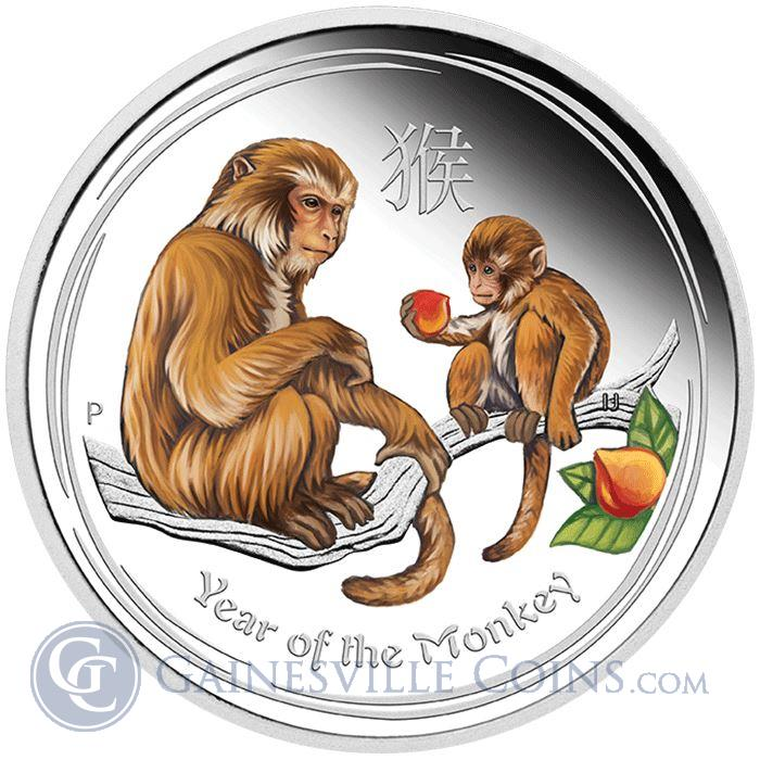 Image Showcase for 2016 1 oz Proof Silver Monkey Australia - Colorized (With Box and COA)