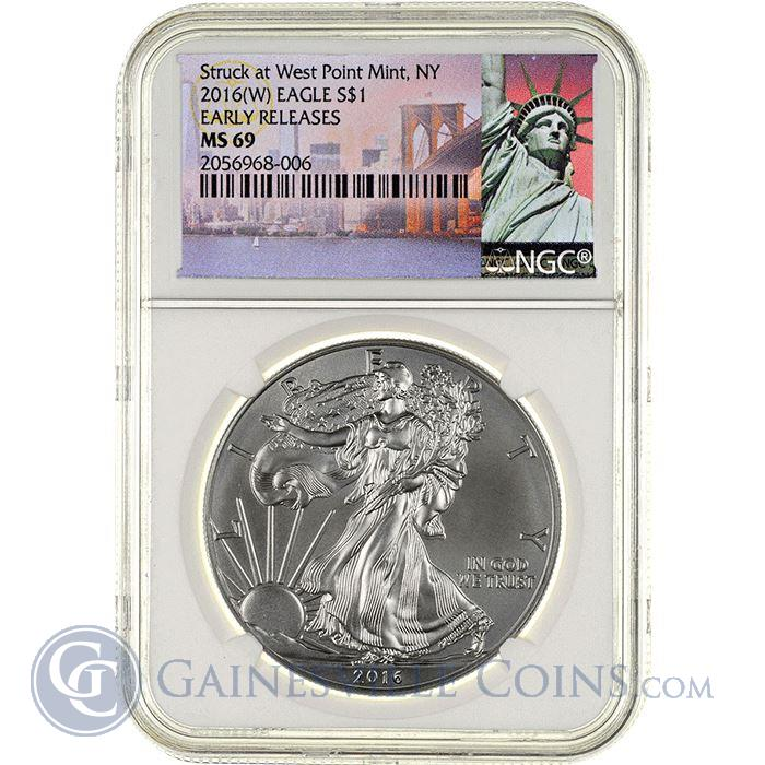 Image Showcase for 2016(W) American Silver Eagle NGC MS69 Early Releases - Statue of Liberty Tag