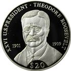 2000 Theodore Roosevelt $20 Silver Proof - Republic Of Liberia (ASW .65 oz)