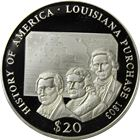 2000 Louisiana Purchase $20 Silver Proof - Republic Of Liberia (.65 oz ASW)