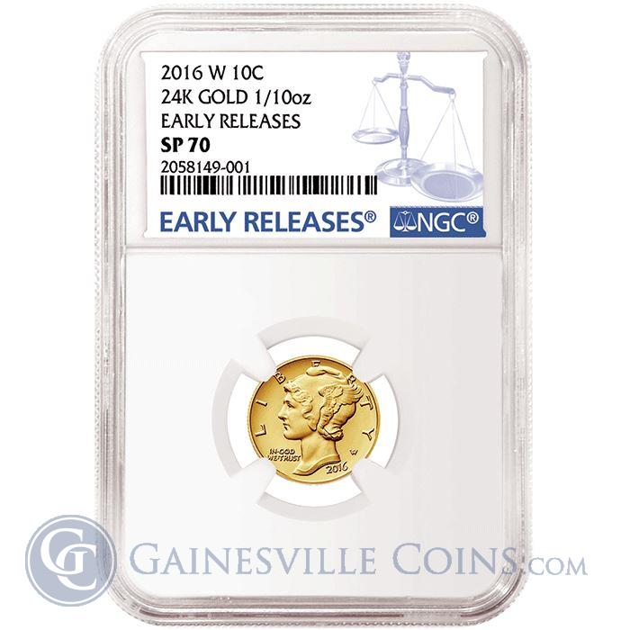 Image Showcase for 2016 W Mercury Dime 1/10 oz Gold Coin NGC SP70 Early Releases