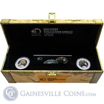 2016 Discovery Channel Endangered Species Africa 2 Coin Proof Silver Set - Niue $2 (3 oz Pure Silver)