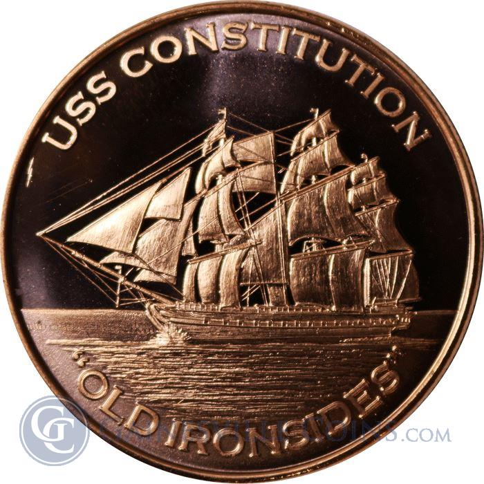 Image Showcase for USS Constitution Old Ironsides Copper Round - 1 AVDP Ounce (.999 Pure)