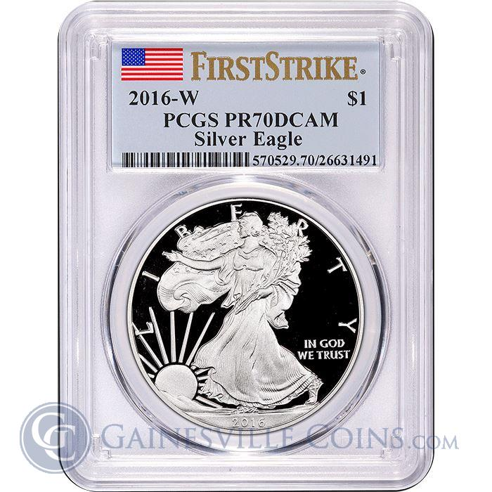 Image Showcase for 2016-W American Proof Silver Eagle PCGS PR70 DCAM $1 First Strike