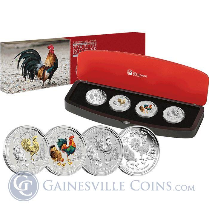 Image Showcase for 2017 Australia Lunar Silver Rooster 4 Coin Typeset - With Box and COA