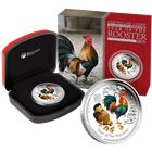 2017 Australia Lunar Rooster 1 oz Proof Silver Coin Colorized - With Box and COA