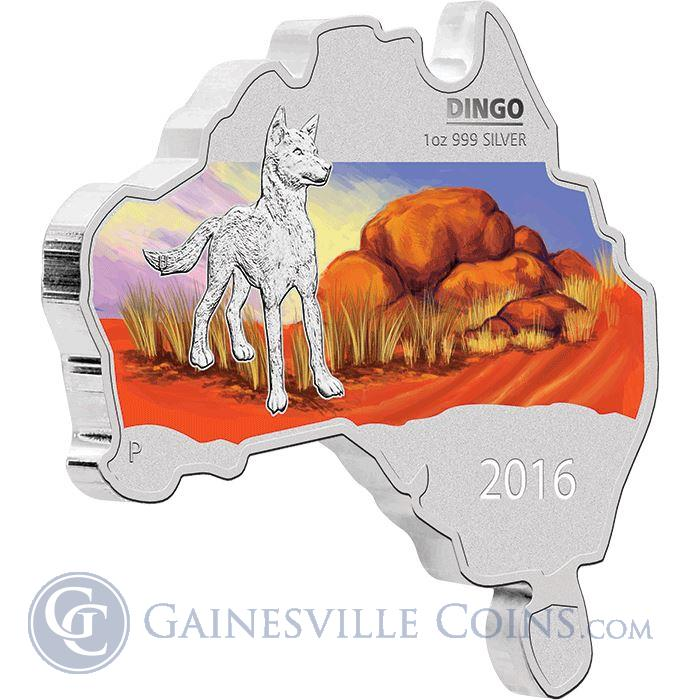 Image Showcase for 2016 Australia Map-Shaped Dingo 1 oz Proof Silver Coin (With Box & COA)