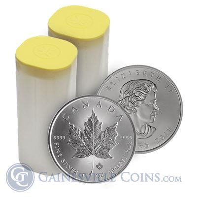 2017 1 oz Canadian Silver Maple Leaf - Roll Of 25 Coins (BU)