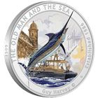 2017 Guy Harvey© The Old Man And The Sea Colorized 1 oz Proof Silver Round - With Box