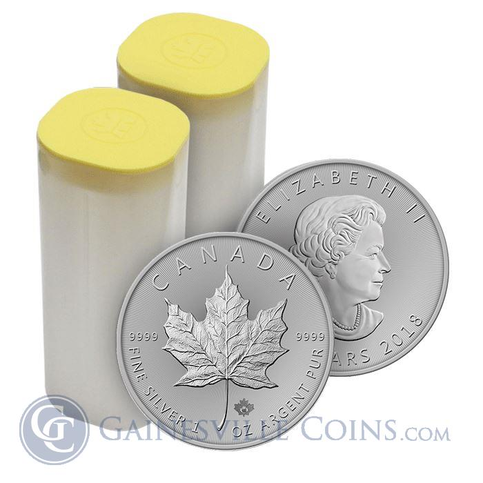 Image Showcase for 2018 1 oz Canadian Silver Maple Leaf - Roll Of 25 Coins (BU)